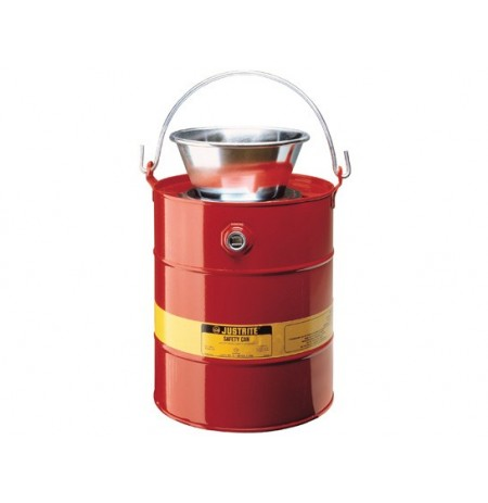 Drain Can with plated steel funnel, 5 gallons (19L), flame arrester, steel