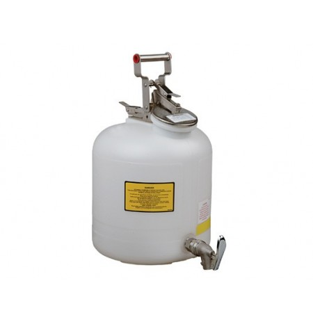 Safety Can for Liquid Disposal, S/S hardware, 5 gallon (19L), flame arrester, polyethylene, with faucet