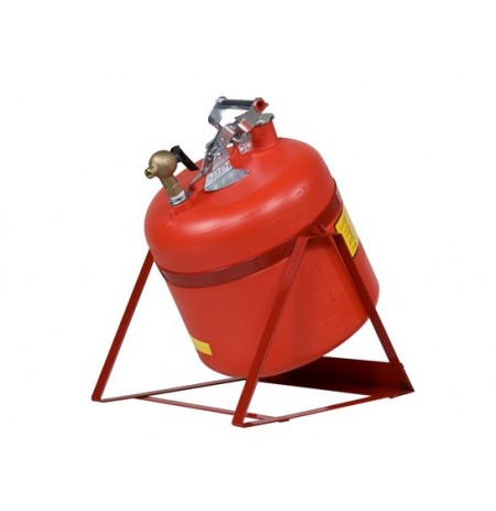 Safety Can, Tilt-style w/Stand, S/S hrdwr, 5 gal., top s/c Brass faucet, flame arrester, poly