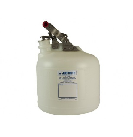 Safety Container for corrosives/acids, S/S hardware, 2.5 gallon, self-close cap, poly