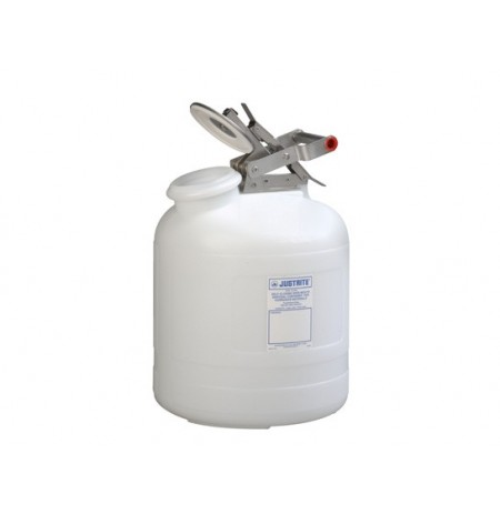 Safety Container for corrosives/acids, Wide-mouth, S/S hardware, 5 gal., self-close cap, poly