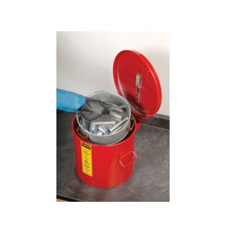 Wash Tank with Basket for small parts cleaning, 2 gal, self-close cover w/fusible link, Steel