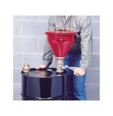"Steel Drum Funnel No 08207 w/6"" flame arrester, s/c cover, Tip-over Protection Kit for 2"" drum bung"